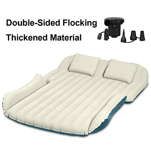 WEY&FLY SUV Air Mattress Thickened and Double-Sided Flocking with 2 Inflatable Pillows Travel Mattress Camping Air Bed Dedicated Mobile Cushion Extended Outdoor for SUV Back Seat 4 Air Bags