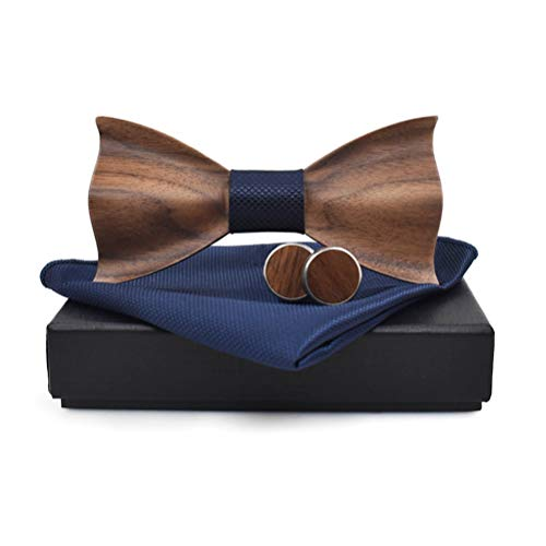 - Mens Wooden Bow Tie with Matching Pocket Square Cufflinks Set Classic Handmade (dark blue)