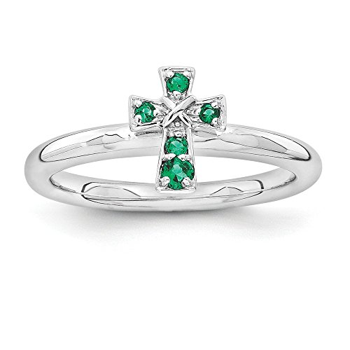 - Sterling Silver Stackable Expressions Rhodium Created Emerald Cross Ring