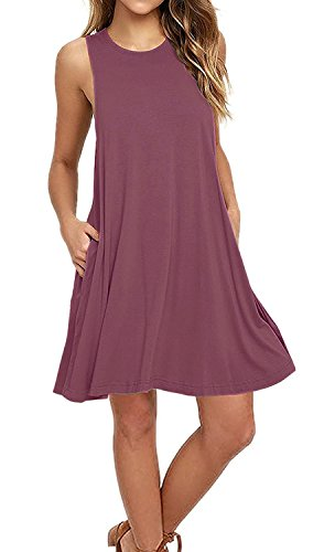 AUSELILY Women's Sleeveless Pockets Casual Swing T-Shirt Dresses (S, Mauve)