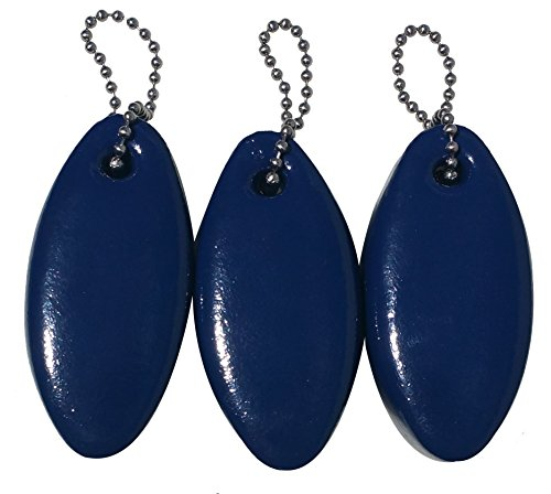3 Pack Vinyl Coated NAVY BLUE Floating Keychain key floats -Made in the USA- (Navy Blue)