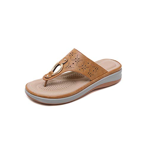 Women's Sandals Metal Toe Wedges Large Size Comfortable Slippers,Soil Yellow,38
