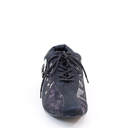 New Brieten Womens Rhinestone Buckle Mesh Lace Up Flats Black s16Ak535jm