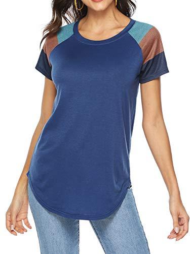 (Amoretu Women Basic Summer Shirts Round Neck Short Sleeve Tunic Tops(Navy,M) )