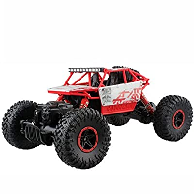 Anxinke 1/18 PRO 2.4GHZ Radio 4WD Double Powerful Motors Shockproof Remote Control Off-Road Cross Country Vehicle ATV Buggy Monster Truck RC Car (Red)