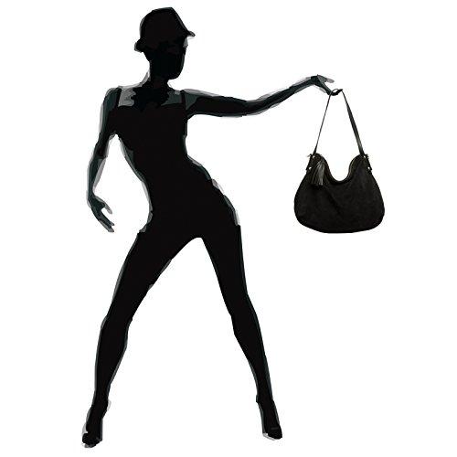Hobo CASPAR en pour femme véritable épaule Sac porté main daim TL765 Noir à style rnCvwBrq