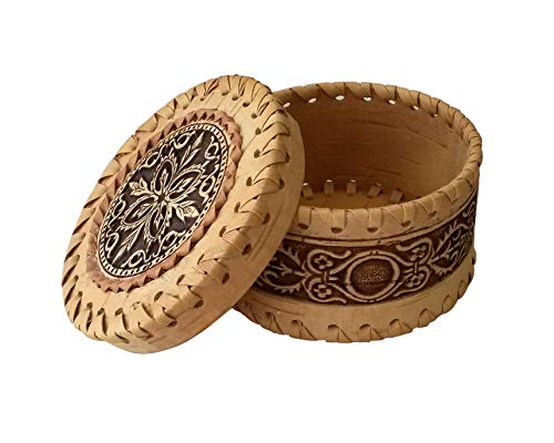 Tourmania Decorative Trinket Jewelry Keepsake Storage Box Round Wooden Birch Bark Gift - Bark Boxes Birch