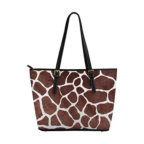 InterestPrint Women Totes Top Handle HandBags PU Leather Purse Giraffe Print for Background