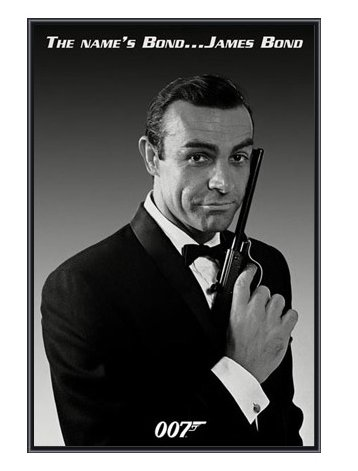 Sean connery 007 james bond framed print quality black metal frame 24 x 36