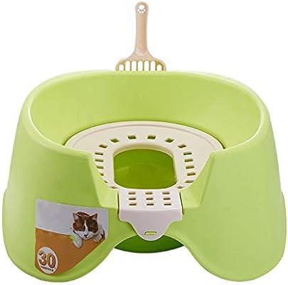 Jlxl Gato Camada Bandeja Plegable para Baño Caja Mascota Grande Conejo Animal Orinal Hámster (Color : Green)