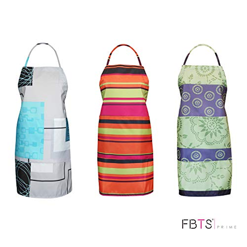 FBTS Prime Cute Apron Kitchen Sets 3 Pack for Women and Men Water Resistant Adjustable Buckles with Two Big Front Pockets (Colorful)