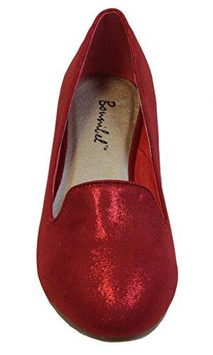 Bonnibel Tatum-6 Mujeres Ballet Barco Plano Slip On Glitter Tela Mocasines De Punta Redonda Rojo