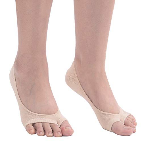 Flammi Women's 6 Pairs Peep Toe Liner Socks No Show with Nonslip Heel Grip (Beige)