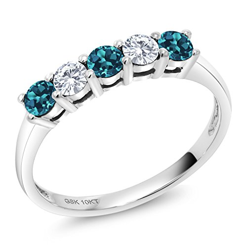 10K White Gold 5 Stone Anniversary Band Ring Round London Blue Topaz Created Moissanite 0.20ct DEW ()