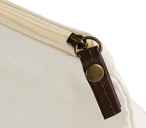 Multipurpose Cosmetic Bag with Zipper - 6-Pack Plain DIY Natural Make-Up Pouch, Cotton Canvas Travel Toiletries Bag, for Women and Teens, Off-White, 11.75 x 5.5 Inches by Juvale (Image #3)