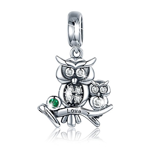 PHOCKSIN Love Mother Daughter Son Owl Pendant 925 Sterling Silver Animal Charms for Bracelets Jewelry