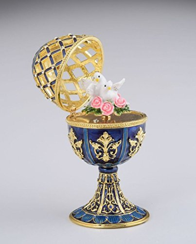 bc12ec3e76eac Amazon.com: Golden Blue Faberge Egg with White Doves: Home & Kitchen