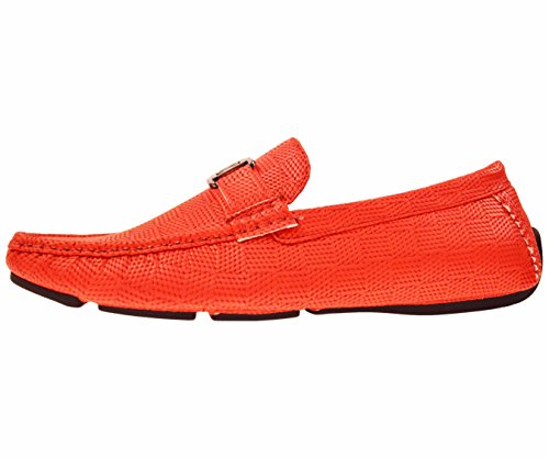 Amali Mens Casual Driving Moccasin Loafer in Red Square Printed Smooth With Silver Ornament: Style 1411 Red-005
