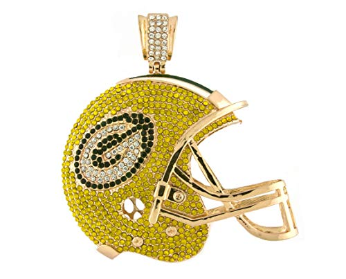 Hip Hop Jewels Iced Out Gold Green Bay Packers Helmet Pendant w/ 30