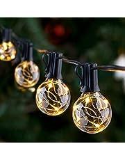 Lichtketting buiten IP65 lichtketting gloeilampen G40 GlobaLink tuin lichtketting met 30 lampen buiten-/binnenverlichting met stekker decoratie voor kamer, bar, tuin, balkon (3 reservelampjes) warmwit