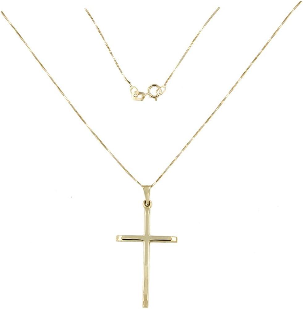 Lucchetta Cross pendant Gold Necklace Women with Crucifix Gold 585 pendant