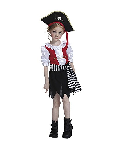 Vivihoo EK169 Halloween Party Costume Pirate Captain Cosplay Dress For Little Girl (L) (Little Girls Pirate Costume)