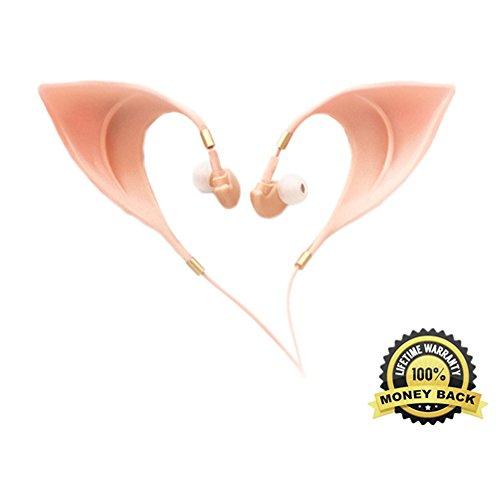 [Toy Elf Ear Costume In-Ear Cute Earbuds Ultra-Soft Corded Earphone Fairy's Adorable Cosplay Headset Spirit Coser Accessory] (Cute Alien Costumes Women)