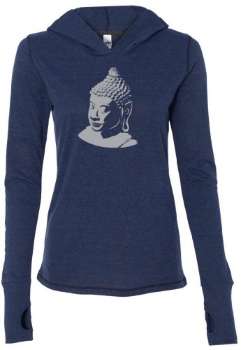 Yoga Clothing For You Ladies Buddha Profile (large print) Tri-Blend Hoodie, 2XL Navy