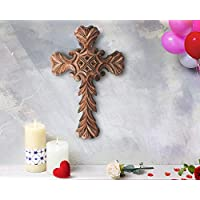 """Wooden Celtic Cross 15""""x 10"""" Long Wall Hanging French Cross Plaque Hand Carved Antique Design Religious Altar Home Living Room Décor Accessory"""