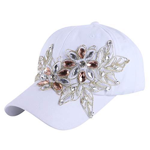 野球帽 ラインストーンのクリスタル デニムキャップ 女性 ヒップホップ帽子,白,サイズ56-60 cm,15歳から大人まで