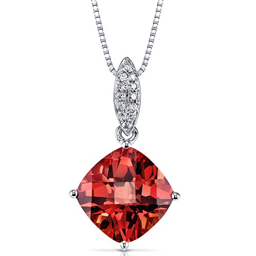 14 Karat White Gold Cushion Cut 4.50 carats Padparadscha Created Sapphire Diamond Pendant