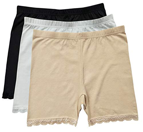 Tan Short Set - RATIVE Cotton Slip Shorts Leggings Panty Underpants Sexy with Lace for Womens (Medium, 3-Pack/Black-White-Beige)