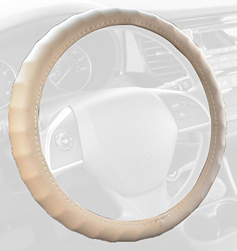 "BDK Genuine Leather Steering Wheel Cover Small 13.5""-14.5"" Beige"
