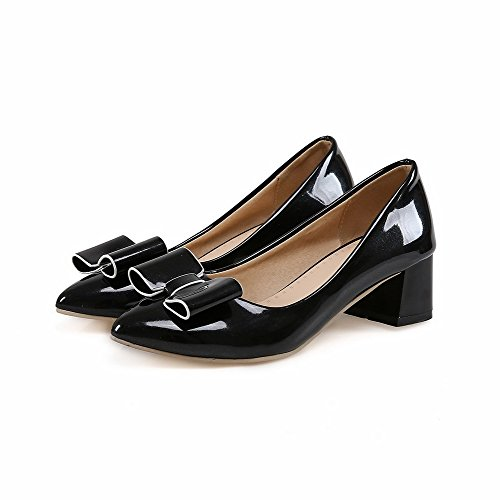 VogueZone009 Women's Solid PU Kitten-Heels Pointed Closed Toe Pull-On Pumps-Shoes Black YXfbxP