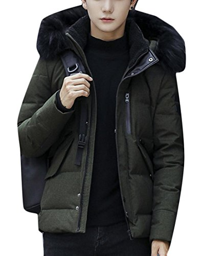 Collar Winter Fur Green Generic Men's Coats Padded Army Lined Down 15pFtF