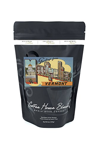 Greetings from Montpelier, Vermont (8oz Whole Bean Small Batch Artisan Coffee - Bold & Strong Medium Dark Roast w/ Artwork)