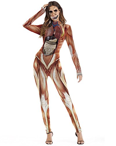 F style Women 3D Muscle Print Cosplay Jumpsuit Bodysuit]()