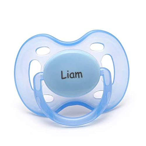 Pacidoodle - Personalized Pacifier Engraved with Your Babys Name - Customize Now (Blue 0-6m)