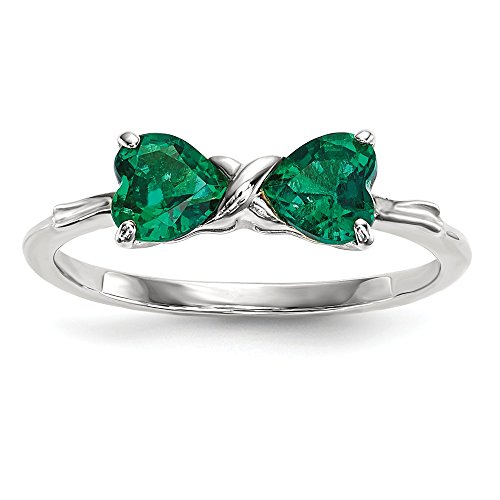14k White Gold Created Green Emerald Bow Band Ring Size 7.00 Set Birthstone May Fine Jewelry Gifts For Women For Her