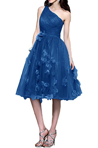 Sunvary a-line One-Shoulder collo fiori con abito da ballo abito da cocktail, Blu, 24W