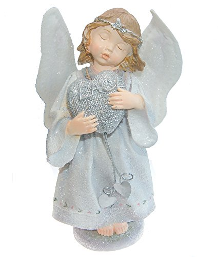 Wings Figurine Peace Angel (Snowdrop Angel Holding a Heart with the Word Peace Figurine Christmas Decoration - Fabric Wings Polyresin Body Decorated with Glittery Snow - 7 Inch)