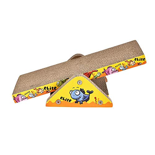 Scratching Kitty Ramp (Aolvo Incline Cat Scratcher Catnip, Cat Scratching Cardboard Seesaw Toy, Funny Corrugated Cat Scratcher Cardboard Protector Furniture Couch Floor, Eco-Friendly Kitty Cat Toys)