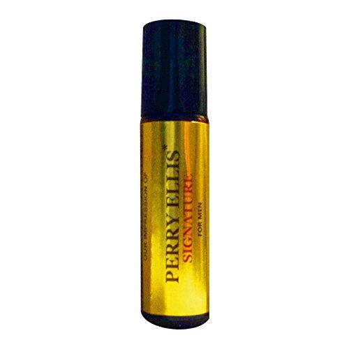 Perfume Studio Premium IMPRESSION of Perry Ellis Original Signature Cologne for Men; 10ml Amber Glass Roller, Black Cap, 100% Pure-No Alcohol Top Grade Parfum (VERSION/TYPE Oil; Not Original Brand)