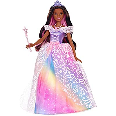 Barbie Dreamtopia Royal Ball Princess Doll, Brunette Wearing Glittery Rainbow Ball Gown, with Brush and 5 Accessories, Gift for 3 to 7 Year Olds: Toys & Games