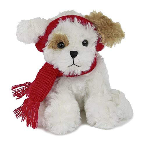 Bearington Chilly Plush Stuffed Animal Brown and White Dog with Scarf, 6 inches ()