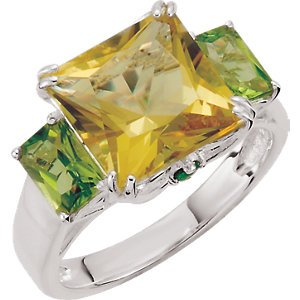 Jambs Jewelry Lime Quartz, Peridot & Chrome Diopside Ring