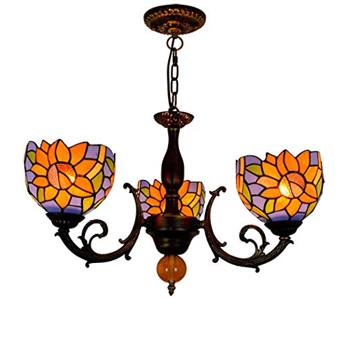 (Litaotao 20 Inch Tiffany Style Pendant Lamp 3 Head Chandelier Orange Sun Flower Handmade Stained Glass for Bedroom Study,110-240V,E273,(Adjustable Height))