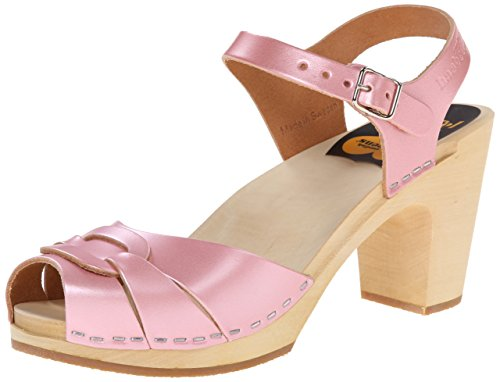 swedish hasbeens Women's Peep Toe Super High Platform Sandal, Pink ...