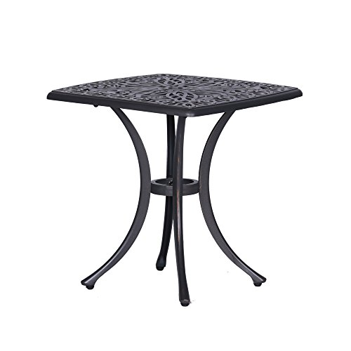 iPatio Athens 21 Inch Side Table in Gunmetal Gray, Outdoor End Table