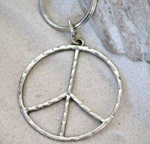 Pewter Hammered Peace Sign Large Keychain Key Tag